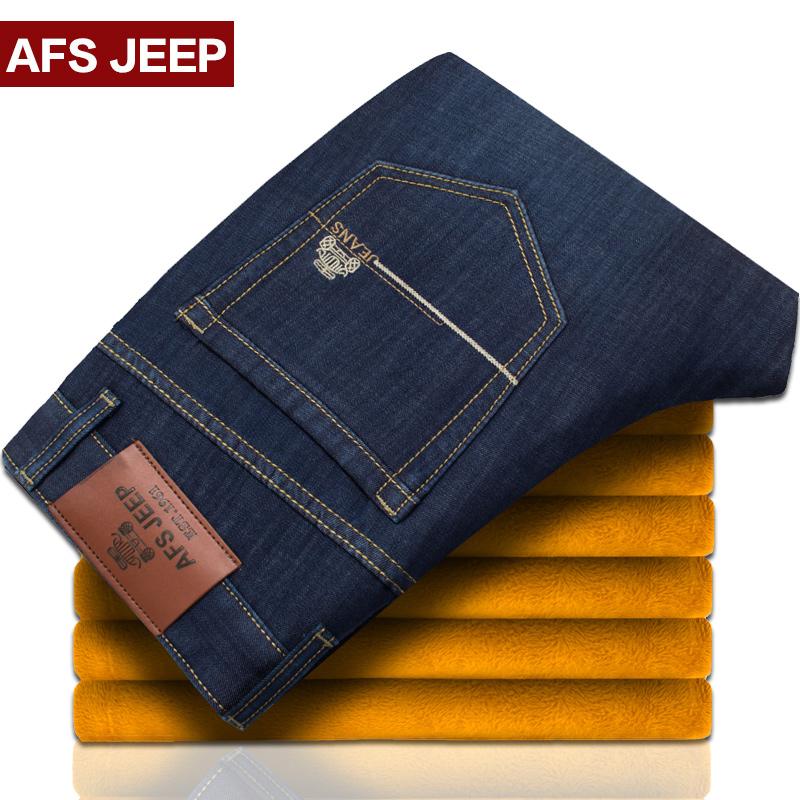 冬季弹力牛仔裤男士加绒加厚直筒宽松商务时尚修身青年保暖长裤子
