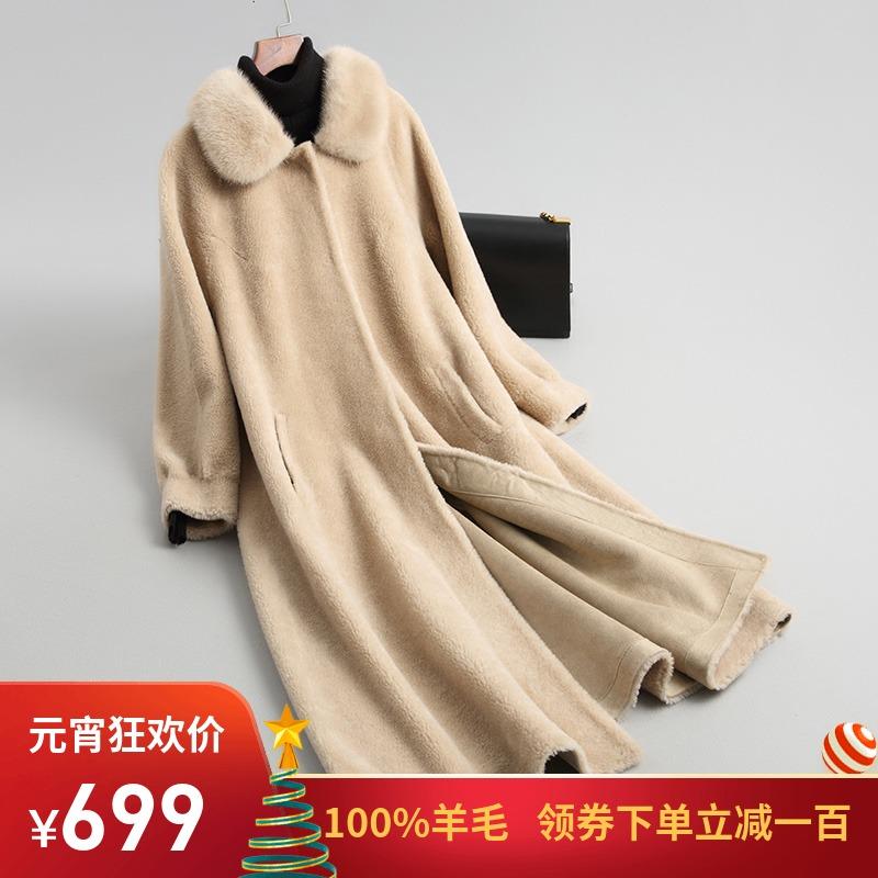 2018冬新款海宁羊剪绒大衣女中长款水貂领皮毛一体羊毛皮草外套