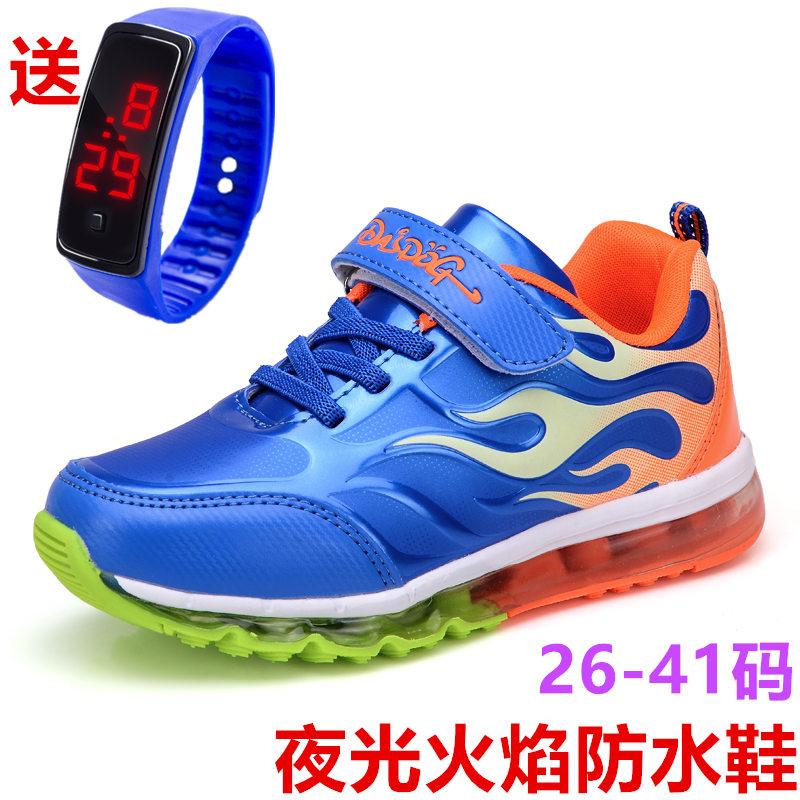 2019新款男童春季鞋皮面防水男气垫运动鞋6小学生男孩儿童鞋子361