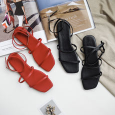 Square head sandals female summer