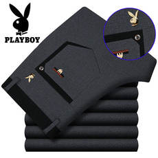 Playboy casual pants men autumn and winter thick brand men's pants middle-aged high stretch men's business straight pants