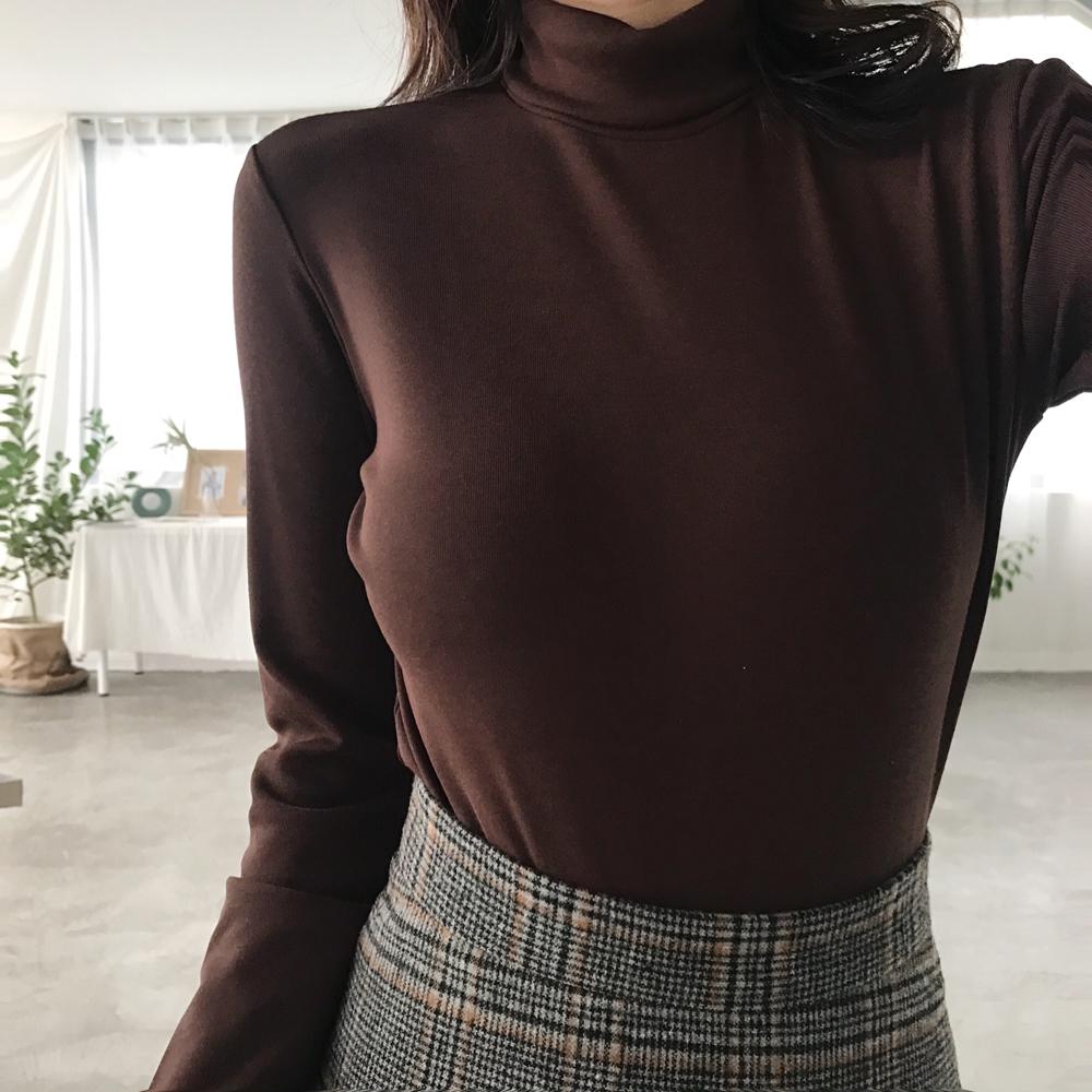 韩国chic加厚修身显瘦打底衫女秋冬弹力半高领百搭基础款长袖T恤