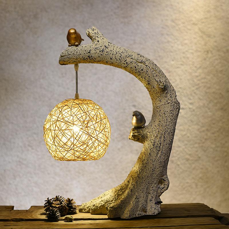 创意新中式台灯装饰客厅书房卧室床头灯温馨复古艺术禅意小鸟台灯