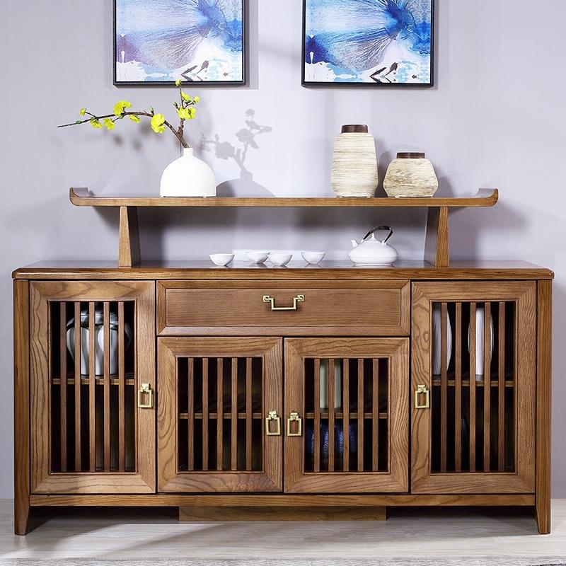 新中式实木餐边柜客厅简约白蜡木深色长方形大容量储物柜组合家具