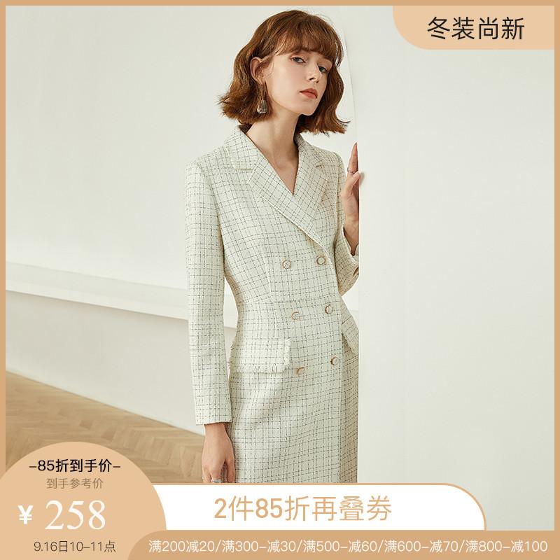 范思蓝恩2019年流行裙子新款收腰显瘦秋冬风衣外套式小香风连衣裙