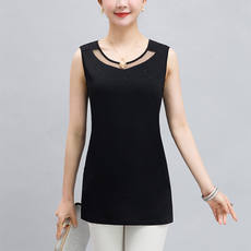 Women's Slim Bottoming Shirt Summer Mom's Wear Vest Stretching Cotton Short Sleeveless T-shirt Blouse Middle-aged Skinny