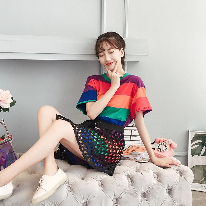小清新条纹T恤裙休闲套装女2019夏装新款韩版学生洋气时尚两件套