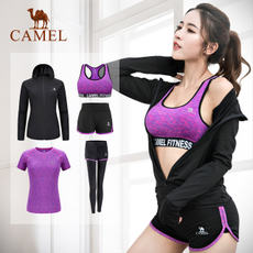 Camel five sets of yoga clothes suit female summer loose gym quick dry running professional sports suit large size