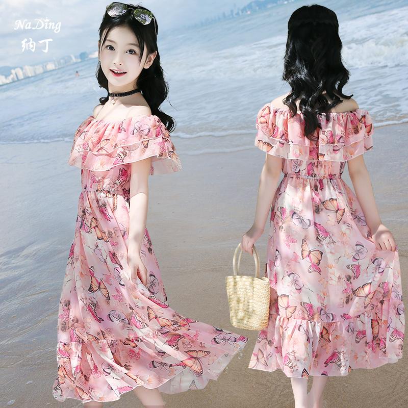 女童连衣裙2018新款大童沙滩裙碎花雪纺公主波西米亚海边度假长裙