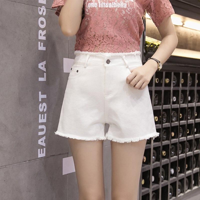 高腰牛仔短裤女夏2018韩版新款白色显瘦阔腿裤宽松超火a字热裤