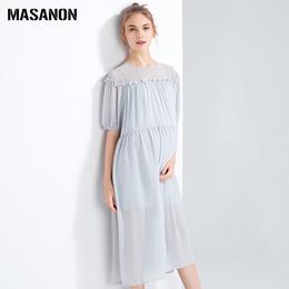 孕妇夏装中长款圆领上衣花边拼接大码宽松雪纺欧美高端时尚连衣裙