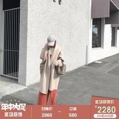 杨小妖高端水波纹双面山羊绒大衣女2018新款中长廓形羊毛呢外套厚