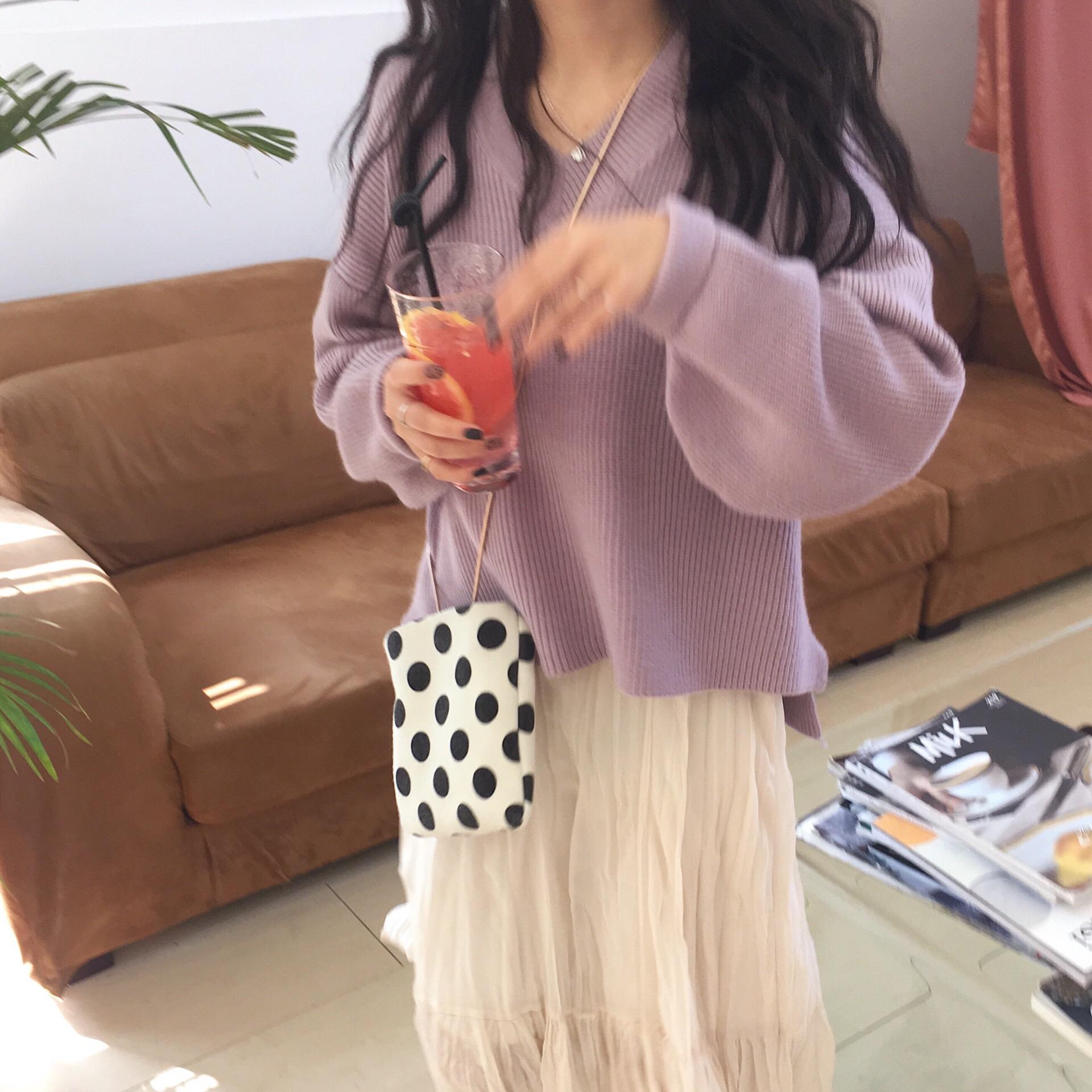 [Busan]香芋紫慵懒针织衫女chic韩范温柔v领宽松毛衣2018秋冬新款