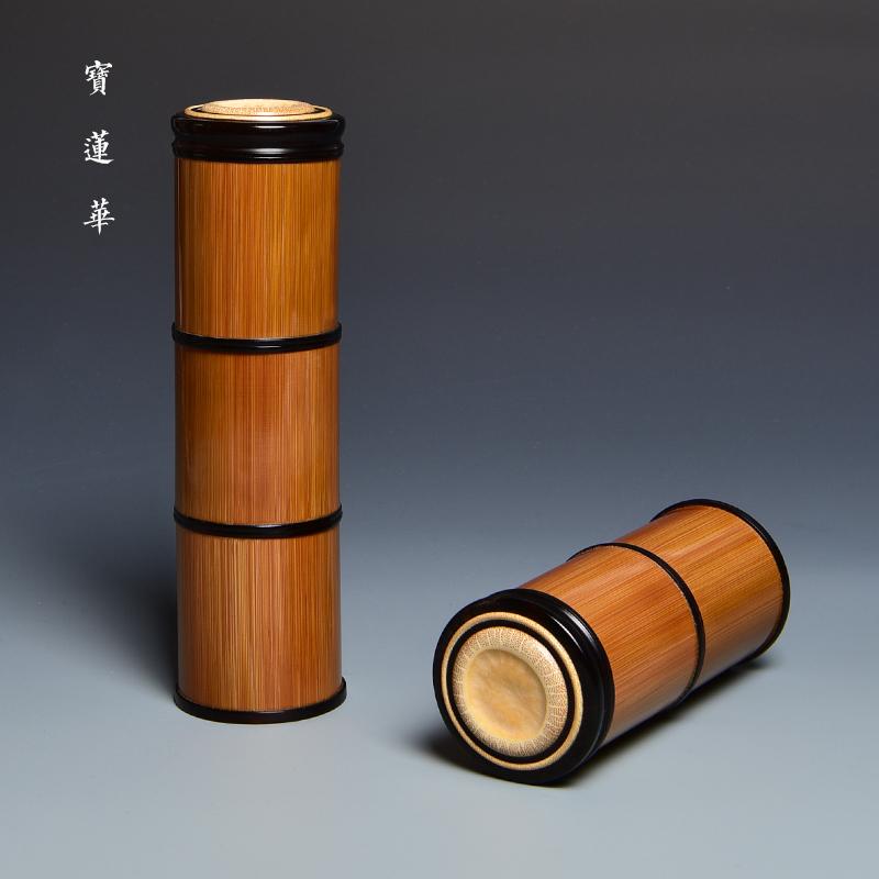 多节罗旋口竹罐 竹茶叶罐 竹香粉罐 便携式竹制茶叶筒旅行茶叶盒