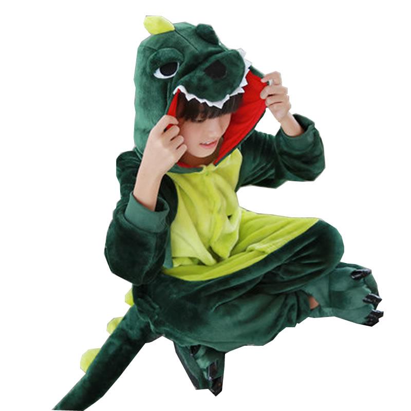 秋冬季法兰绒儿童连体睡衣动物恐龙套装亲子装男女宝宝卡通家居服
