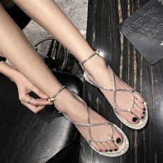 Uncle's home rhinestone snake-shaped winding sandals female fairy wind 2019 new summer wild toe flat-bottom Roman shoes