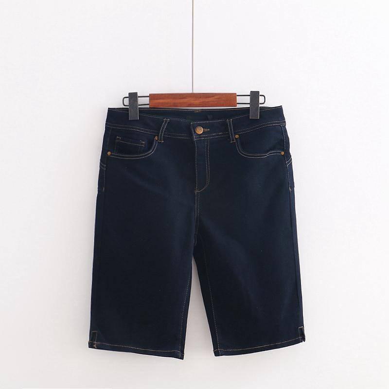 欧美新款夏季女式牛仔裤 复古修身纯色百搭直筒显瘦中裤 五分裤