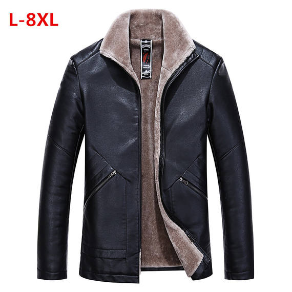Fur one big size male plus fertilizer plus size plus velvet thick leather fat casual fat jacket jacket dad coat