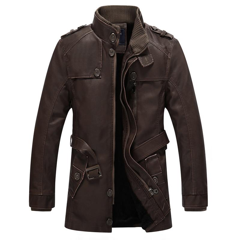 速卖通秋冬季男士中长款加绒皮衣男外套 欧美朋克立领水洗皮夹克