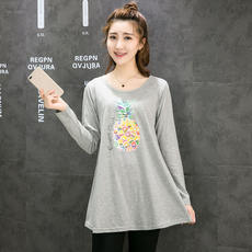 2018 autumn new long-sleeved t-shirt women's Korean version of the large size cotton shirt in the long section loose bottoming shirt mother