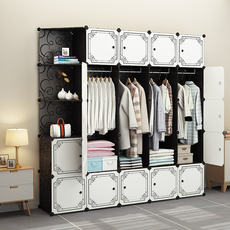 Wardrobe simple modern economical assembled home dormitory hanging wardrobe bedroom storage rental plastic simple wardrobe