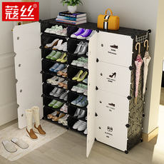 Simple shoes shelf dormitory female household multi-layer dustproof assembly economical space door small shoe storage cabinet