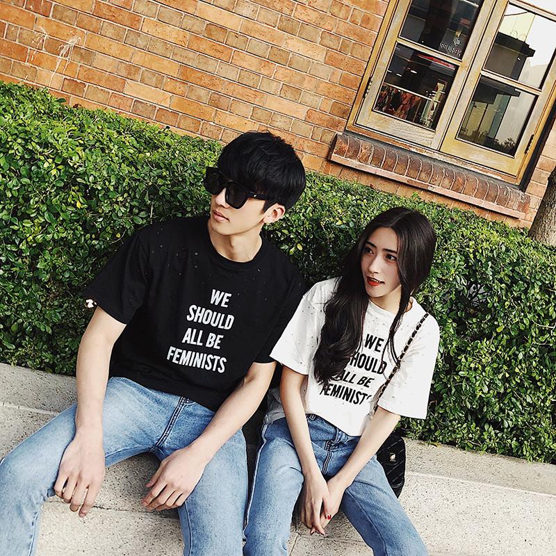 阿姐家 2018春装新款韩版三色英文印花情侣款圆领个性短袖T恤女满6元减5元