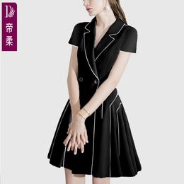妈妈夏装2018新款短袖西装领YIMERE时尚欧美连衣裙中年高端女装