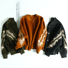 Rivets + heavy embroidery! Baseball collar short short paragraph handmade double-sided wool coat coat MN81112