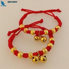 响铃铛男女宝宝婴儿儿童小孩子红绳可调节手链脚链金饰品