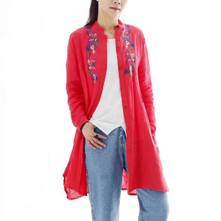 领口刺绣连衣裙 秋款纯麻长袖中长款宽松大码文艺女衬衫裙0.34