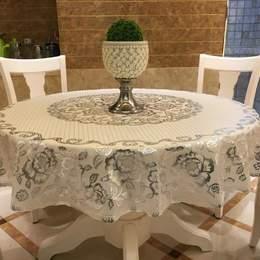 直径1.8米圆桌布PVC防水塑料台布餐桌垫加厚水晶板透明磨砂软玻。