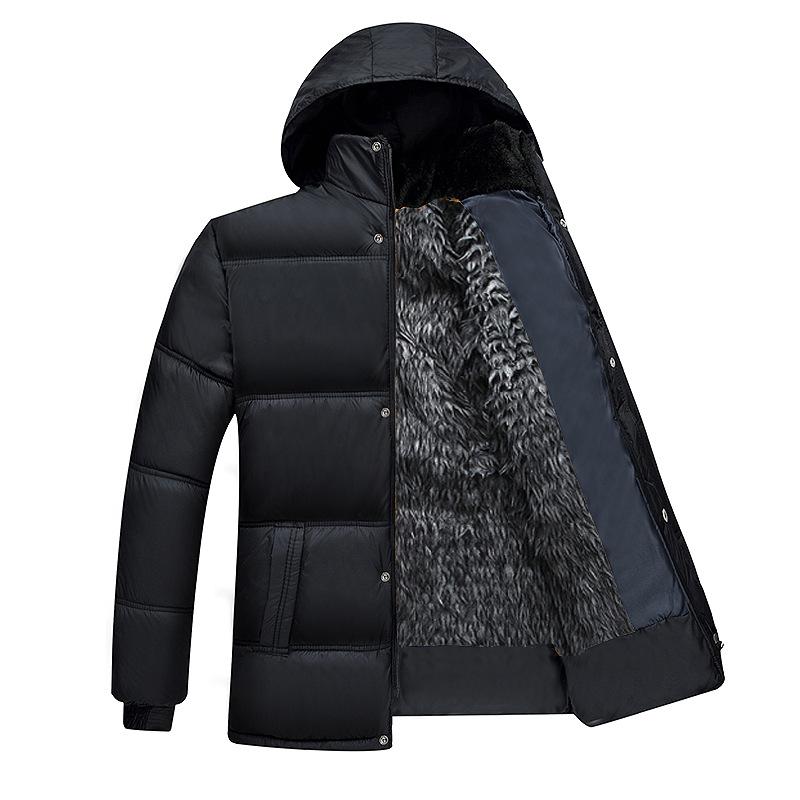 冬季中年男士羊毛呢大衣加绒加厚款中老年爸爸装棉衣外套