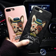 Tide brand embroidery bulldog dog iphoneX Apple 6s couple shatter-resistant mobile phone shell 8plus shell 7p men and women models