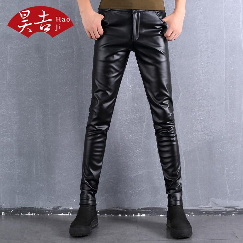 正品男装皮裤子30紧身40修身50岁男士骑电动车穿长裤爸爸PU小脚裤