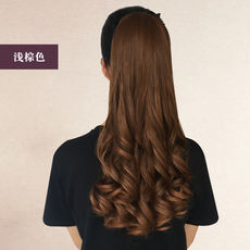 Wig ponytail long curly hair band style realistic pear flower ponytail wig 辫 big wave curly hair ponytail wig