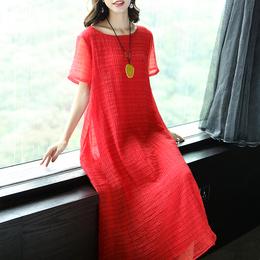 2019夏季新款优雅纯色宽松大码圆领中长款短袖连衣裙女过膝长裙