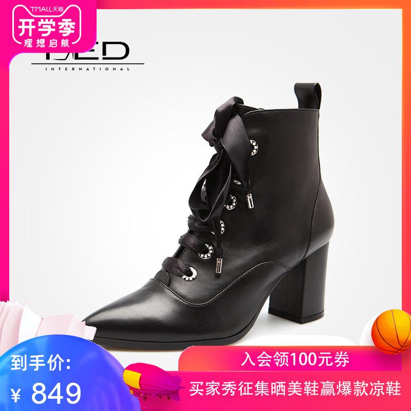 fed鞋子女冬季欧美缎面系带黑色尖头高跟鞋骑士靴1730977
