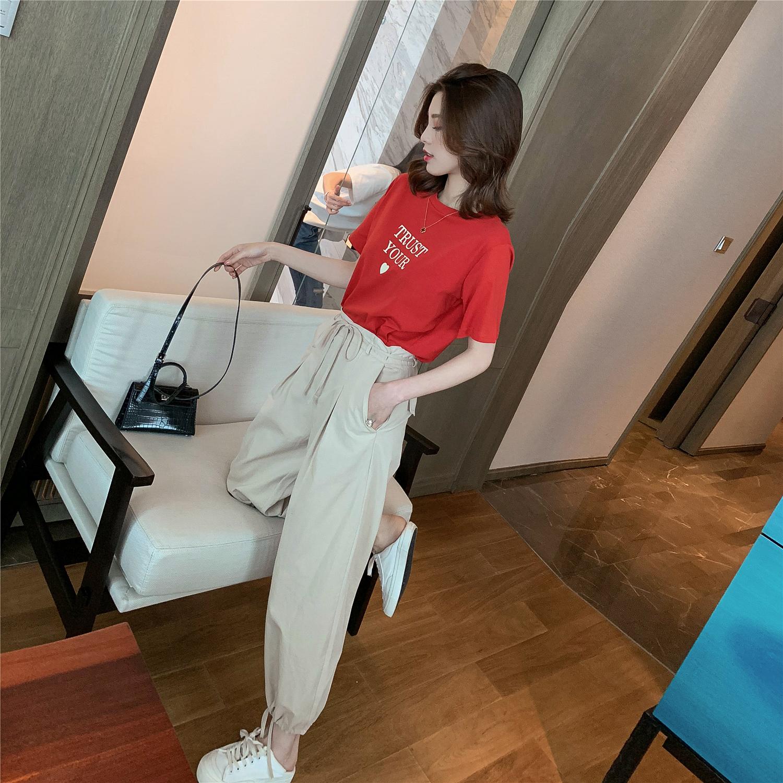 夏季2019新款韩版爱心印花T恤+系带灯笼裤闺蜜装套装女休闲两件套