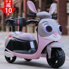 New children's electric motorcycle tricycle men and women baby can sit people toy car large battery stroller