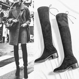 长筒靴女过膝2018新款秋冬弹力中跟瘦瘦靴粗跟低跟弹力靴加绒靴子
