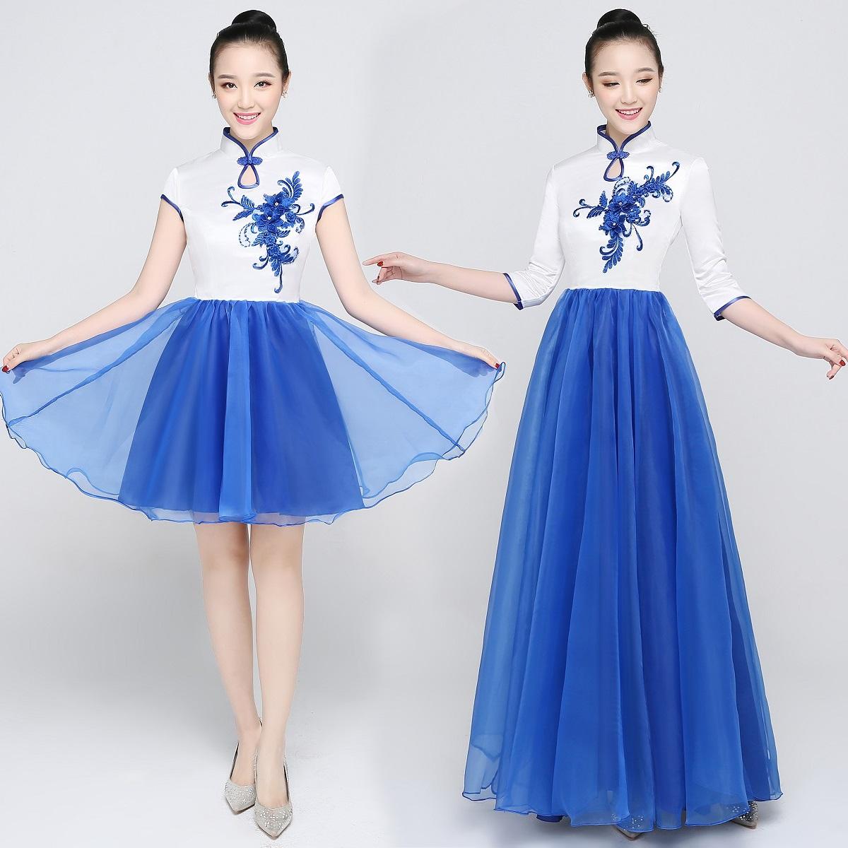 新款青花瓷大合唱演出服合唱团礼服女长裙合唱服独唱主持舞蹈服装图片