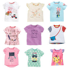 Girls variety short-sleeved T-shirt 2-7 years old children's half-sleeved t-shirt tops 3 cotton 4 rabbits 5 cats pigs clearance sale price