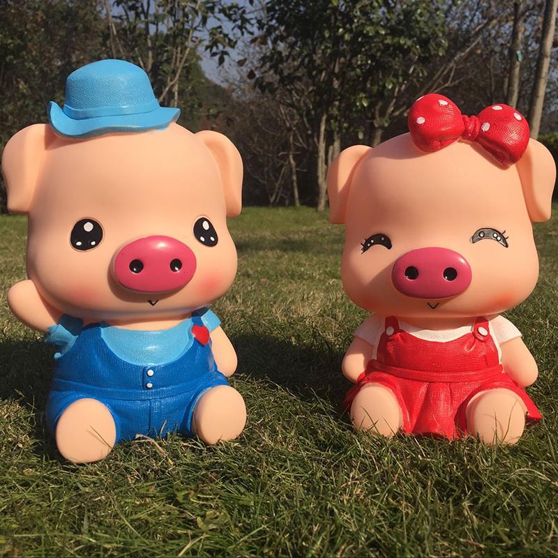 创意小猪存钱罐大号可爱卡通麦兜猪猪储蓄罐防摔摆件z