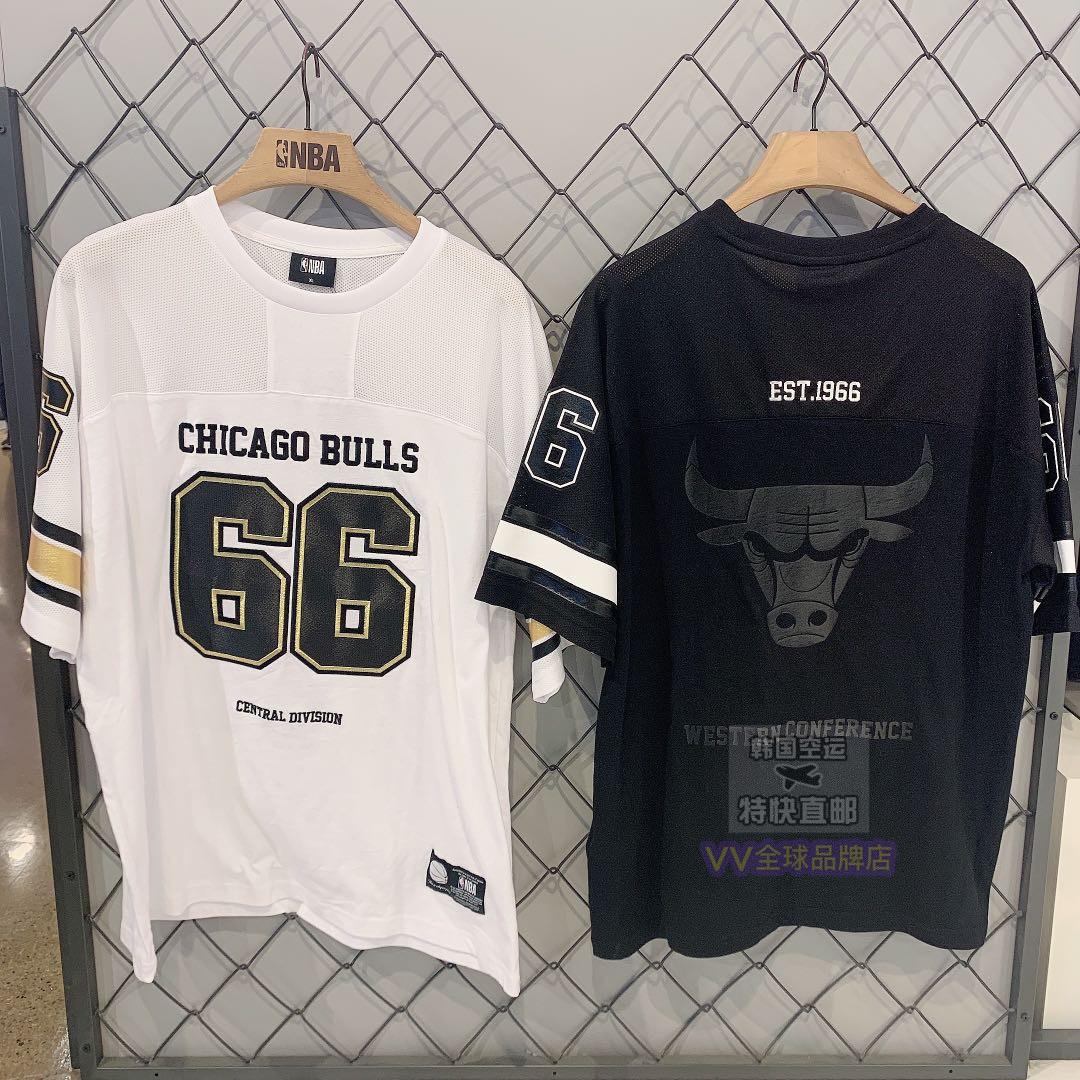 NBA新款19年夏季N192TS215P公牛队队服拼接网面66号个性大标T恤