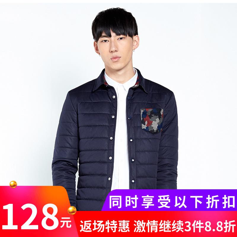 gxg.jeans男装冬男迷彩拼接翻领休闲薄款棉衣#54807002