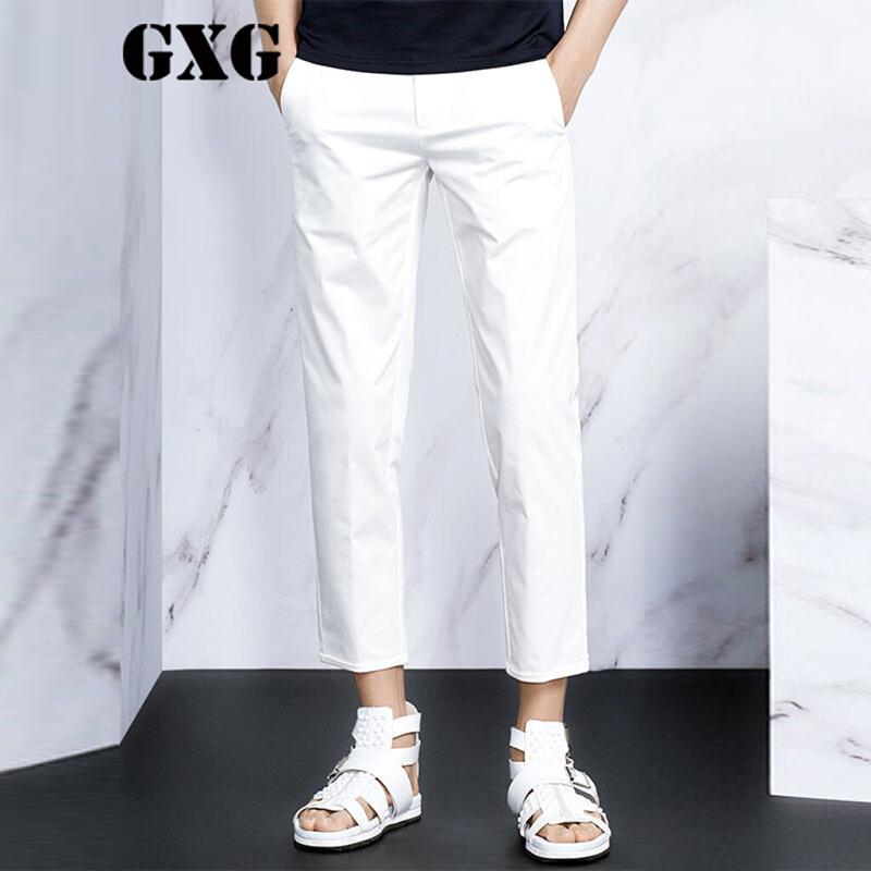 特惠GXG男士秋装时尚百搭款白色休闲裤九分裤#42102241