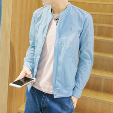2018 summer sun protection clothing men's jacket jacket blue thin breathable outdoor UV youth travel shirt