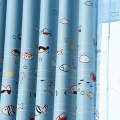 新款小鱼印花窗帘全遮光儿童卡通窗帘布料成品定制包邮男孩
