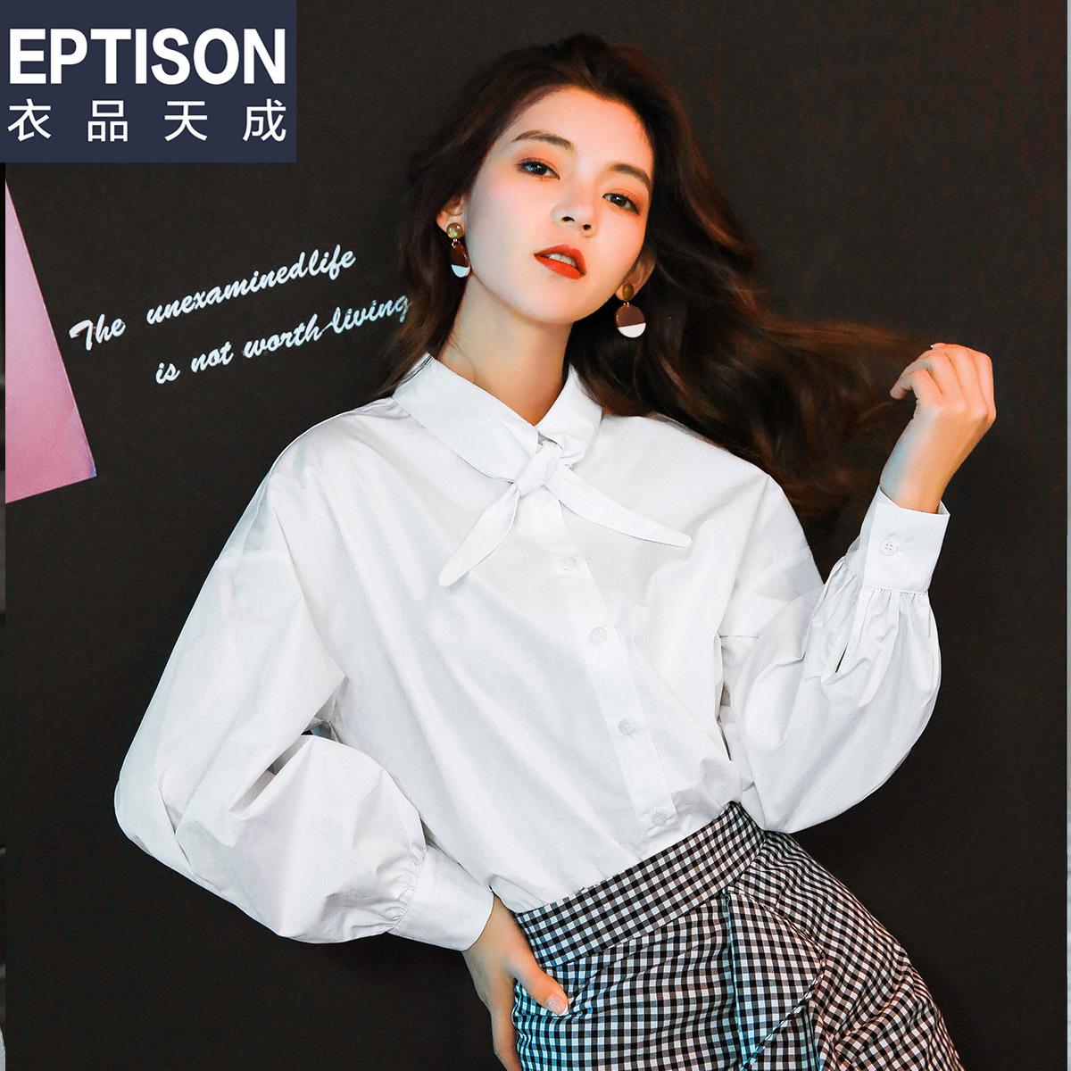 领结衬衫女长袖2018春装新款纯棉学生潮ins上衣白打底